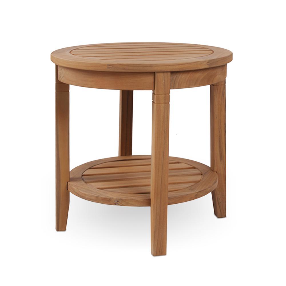 Round Teak Side Table.Cambridge Casual Heaton Natural Teak Wood Outdoor Side Table