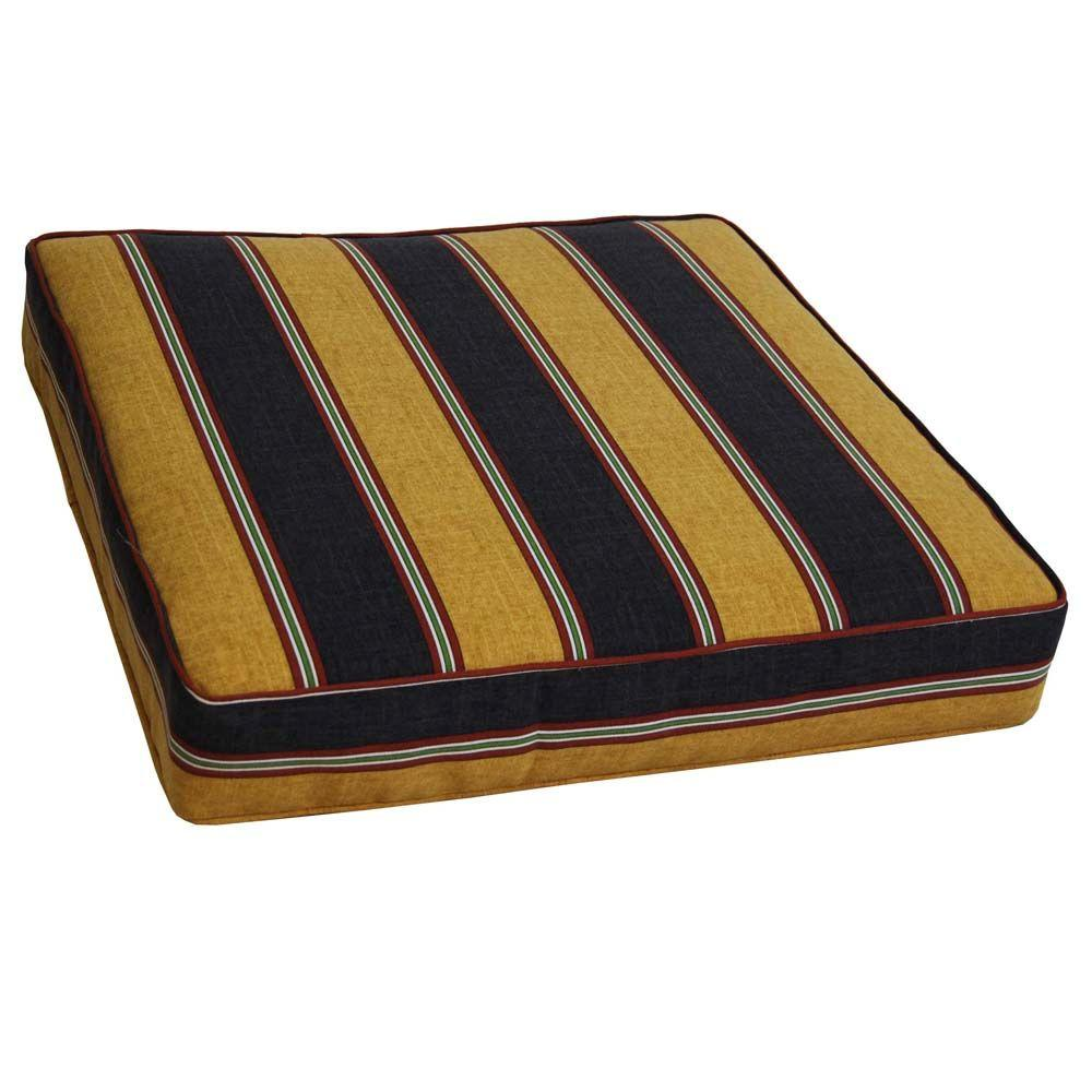 null Denver Stripe Onyx Outdoor Floor Cushion-DISCONTINUED
