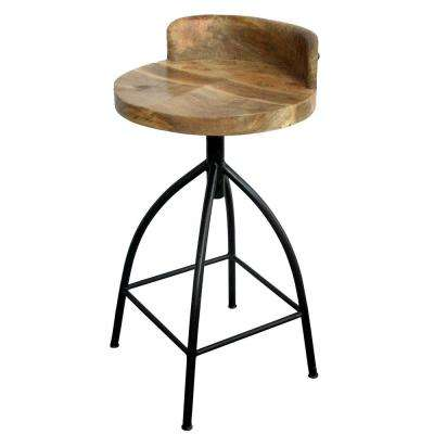 26 in. Brown and Black Industrial Style Adjustable Swivel Counter Height Stool with Backrest