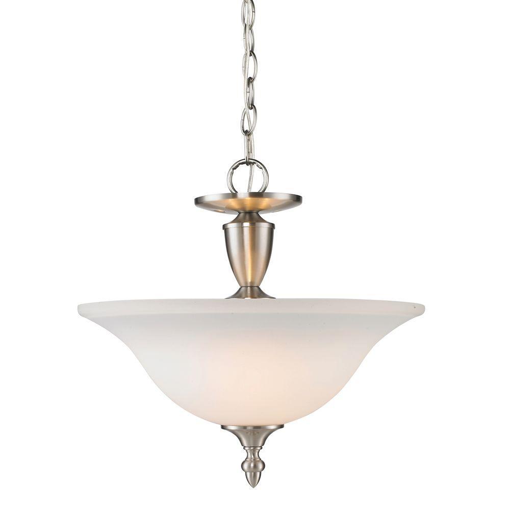 null Yvette Collection 3-Light Pewter Semi-Flush Mount/Pendant Convertible