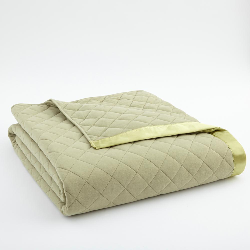 Micro Flannel King Meadow Quilted Polyester Blanket MFNQBKKCKMDW The Home Depot