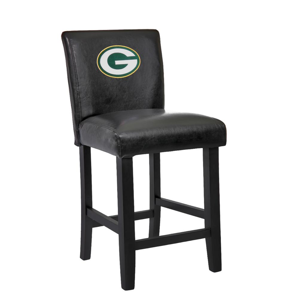Green Bay Packers 24 in. Black Bar Stool with Faux Leather