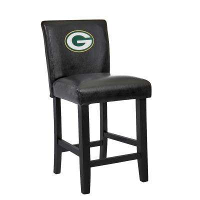 Green Bay Packers 24 in. Black Bar Stool with Faux Leather Cover (Set of 2)
