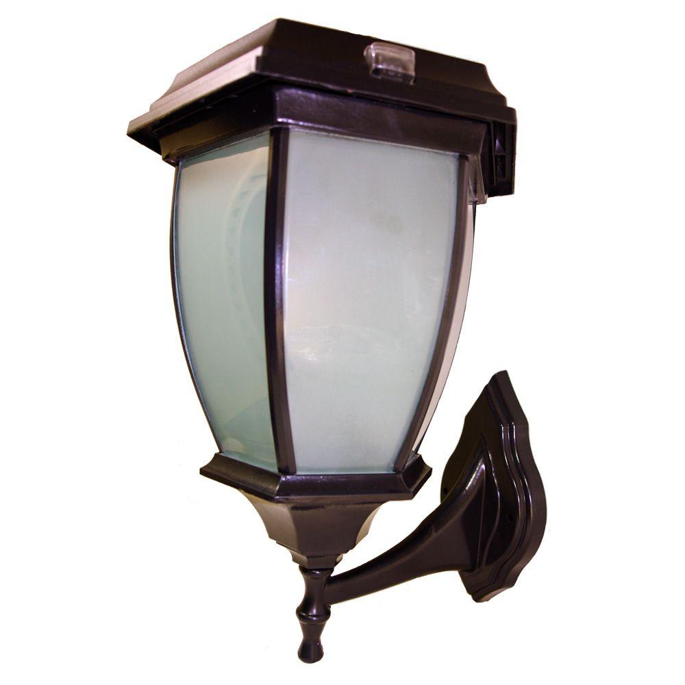 Solar Black Led Outdoor Warm White Coach Light With Convex Gl Panels And Wall Mount