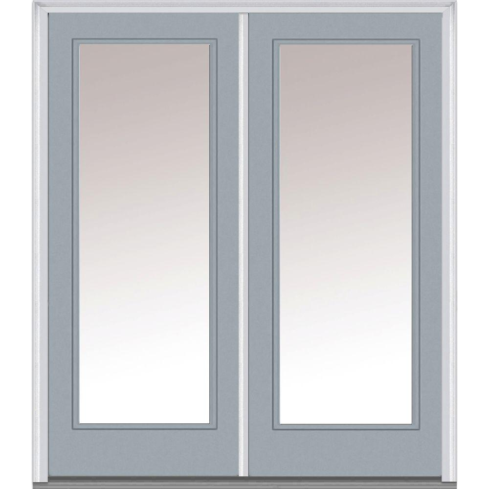 Mmi door 72 in x 80 in glass right hand full lite clear for Prehung exterior doors with storm door