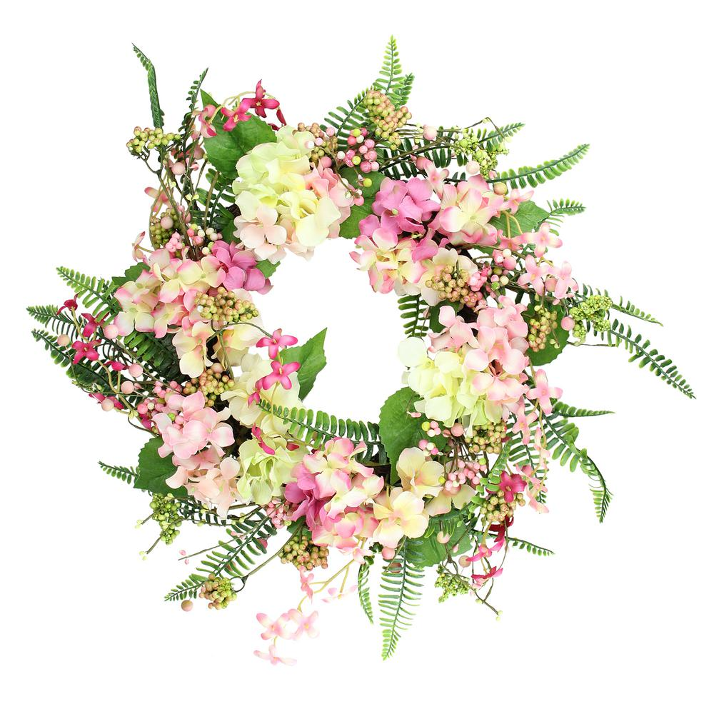 Northlight 20 in. Pink and Yellow Hydrangea Artificial Spring Wreath with Green Foliage