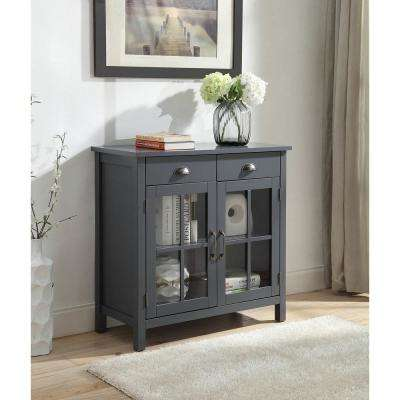 Olivia 2-Drawers Grey Accent Cabinet with 2-Glass Doors