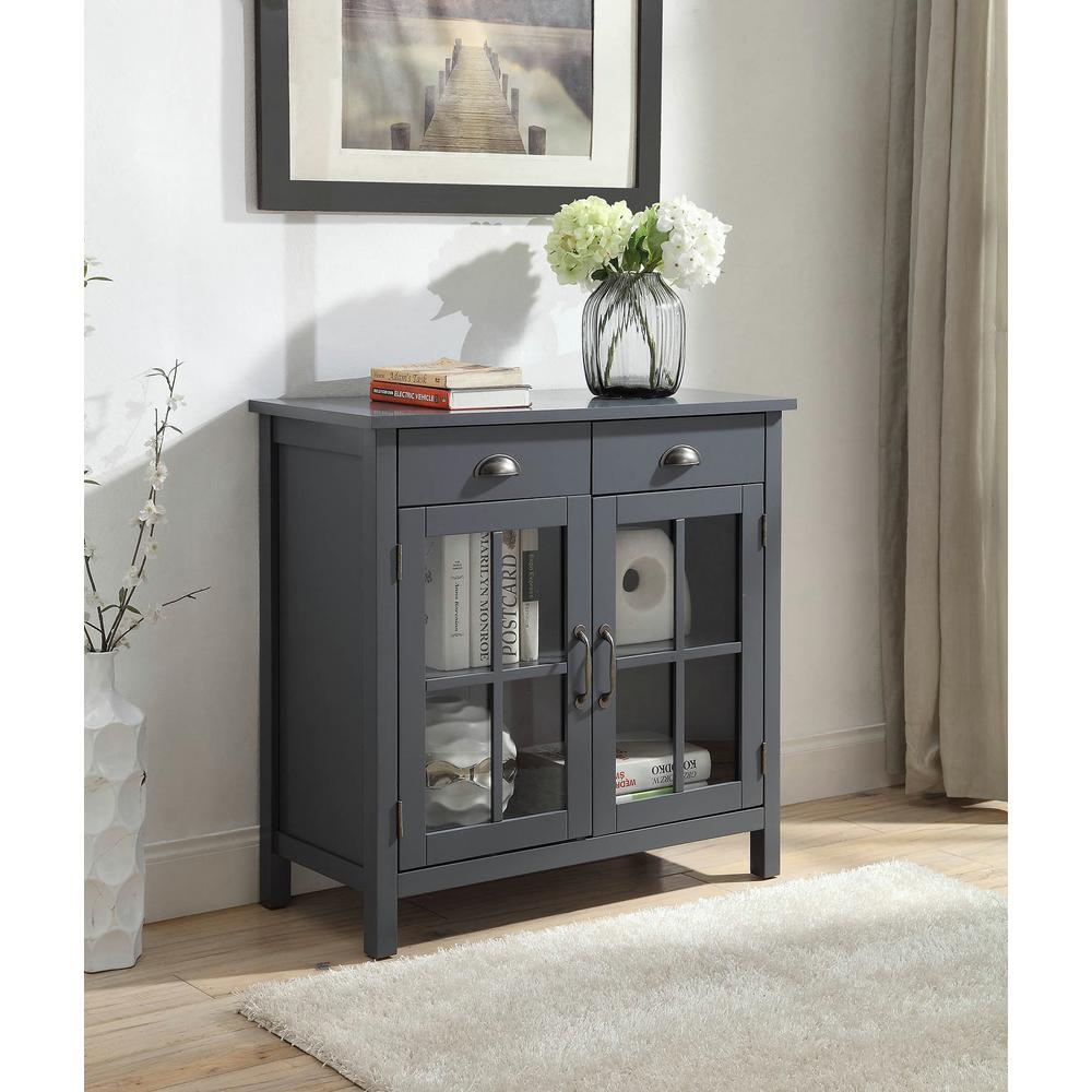 Olivia 2 Drawers Grey Accent Cabinet With 2 Glass Doors Sk19087d2 Gy