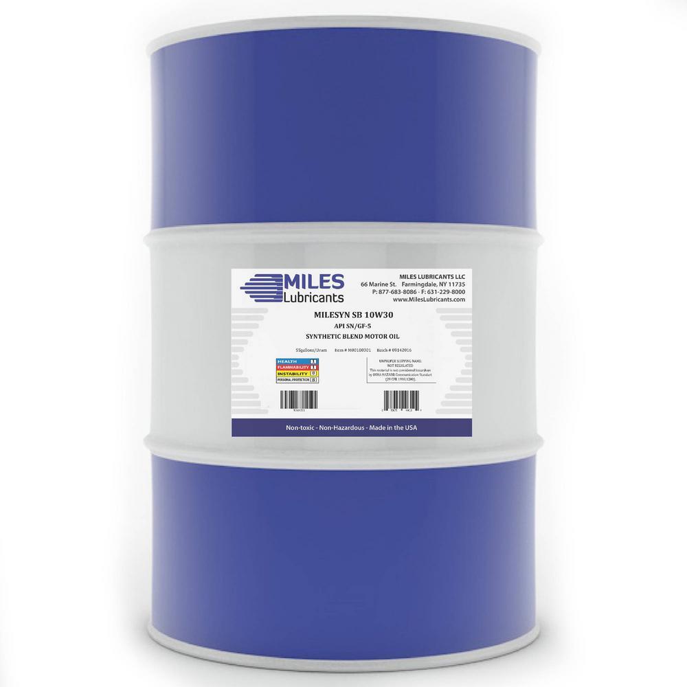 Milesyn SB 10W30 API GF-5/SN 55 Gal. Synthetic Blend Motor Oil Drum