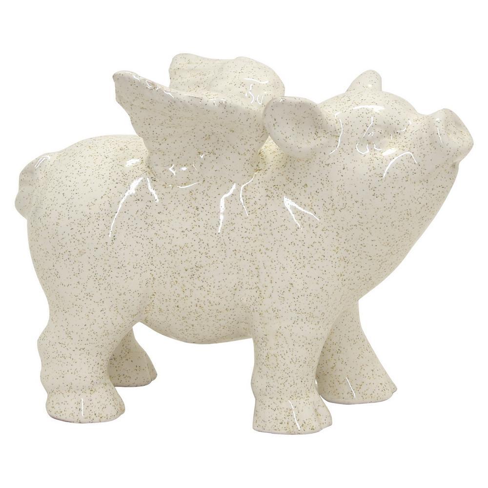 8 in. x 5 in. x 6 in. Ceramic Table Top- Pig in White