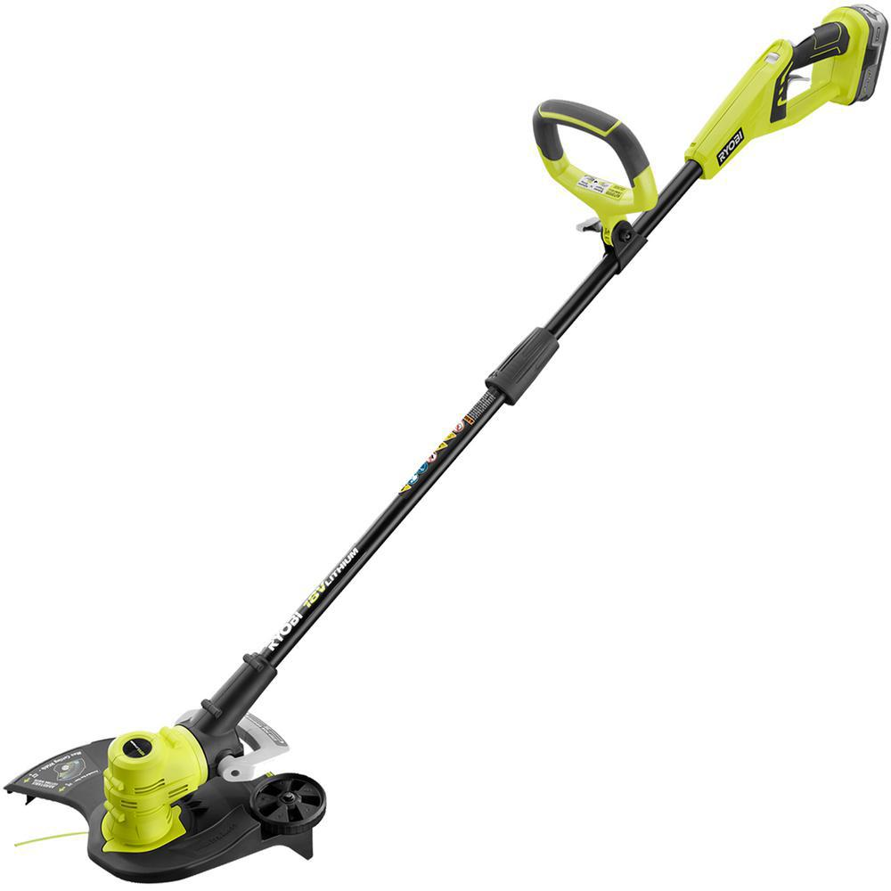 Reconditioned One 18 Volt Lithium Ion Cordless String Trimmer Edger 4 0 Ah Battery And Charger Included