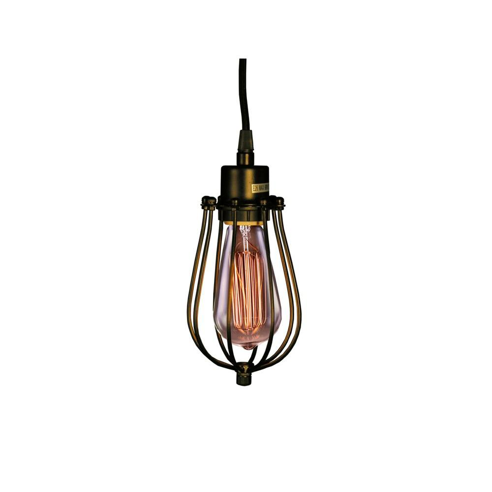 Edison Priscilla Collection 1-Light Antique Bronze Clear Glass Indoor Pendant