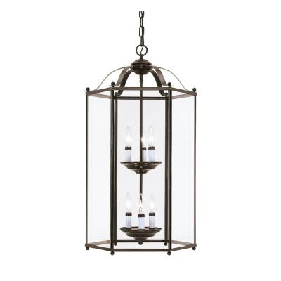 Bretton 6-Light Heirloom Bronze Hall-Foyer Pendant with Dimmable Candelabra LED Bulb