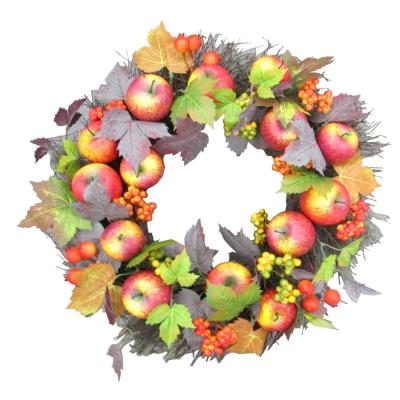 Fraser Hill Farm 24 In Halloween Wreath With Apples And Berries Ff024hvwr007 0mlt The Home Depot