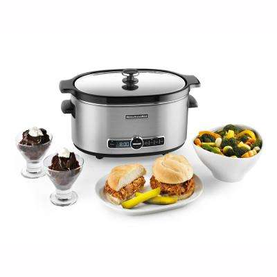 6 Qt. Stainless Steel Slow Cooker with Glass Lid and Built-In Timer