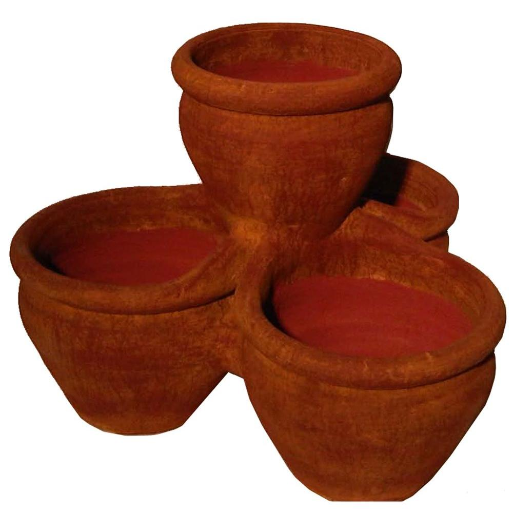 18 in. 4-Pocket Terra Cotta Painted Clay Pot