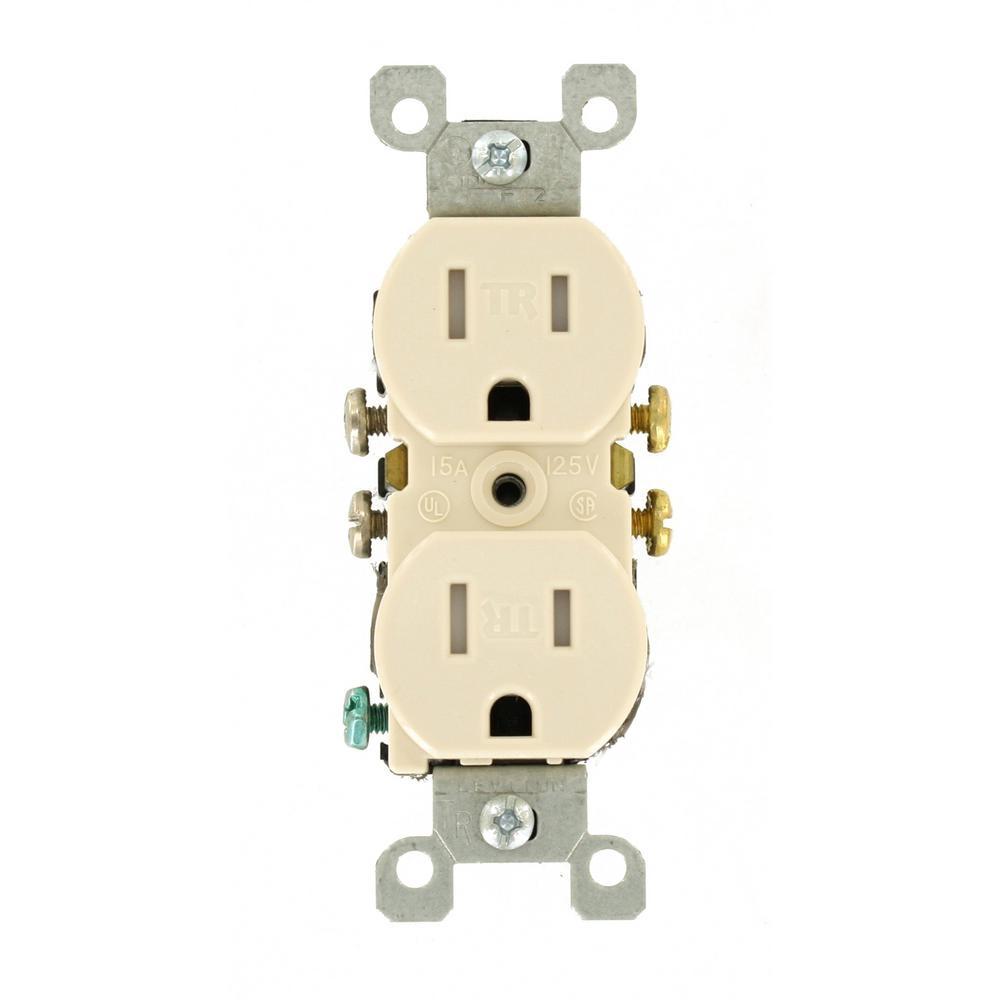 15 Amp Tamper Resistant Duplex Outlet, Light Almond