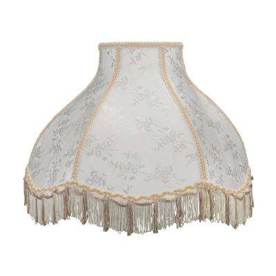 17 in. x 12 in. Beige and Fringe Scallop Bell Lamp Shade