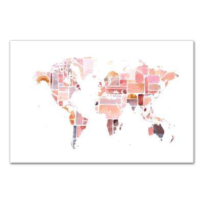 24 in. x 36 in. ''Pink World Map'' Printed Canvas Wall Art