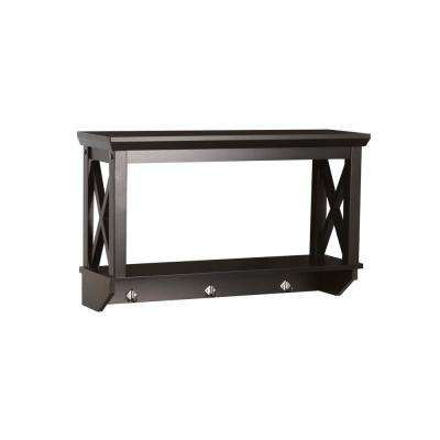Espresso Open Wall Shelf with Hooks