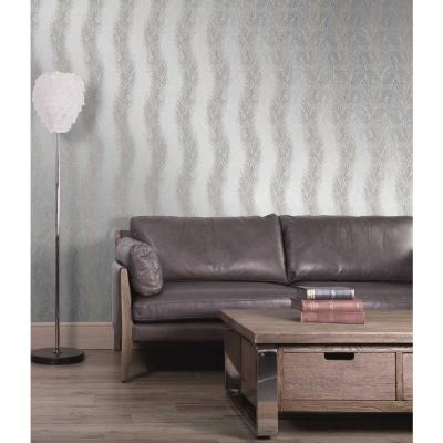 Wheaton Silver Leaf Wave Wallpaper Sample