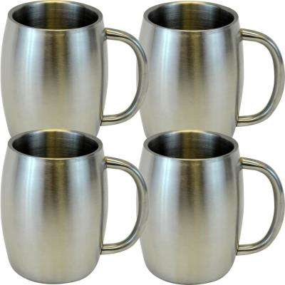 14 oz. Silver Stainless Smooth Double Wall Steel Beer/Coffee/Desk Mug (Set of 4)