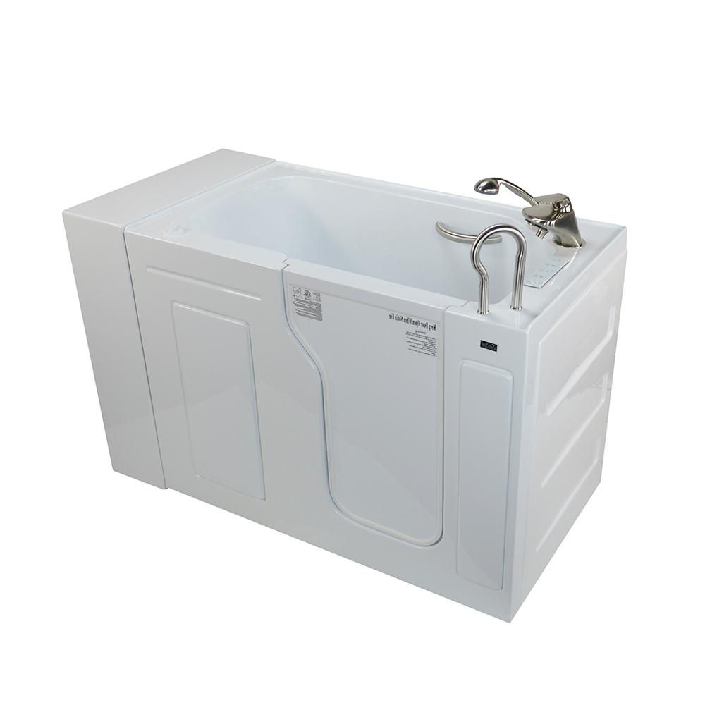 Max Acrylic 51 in. Walk-In Whirlpool and Air Bathtub in White
