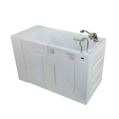 Max Acrylic 51 in. Walk-In Whirlpool and Air Bathtub in White with Fast Fill Faucet and Digital Control with Right Drain