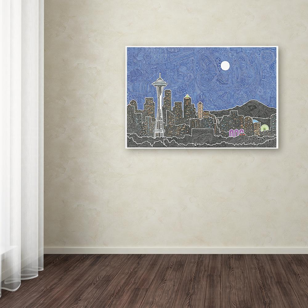 "16 in. x 24 in. ""Seattle's Night"" by Viz Art Ink"