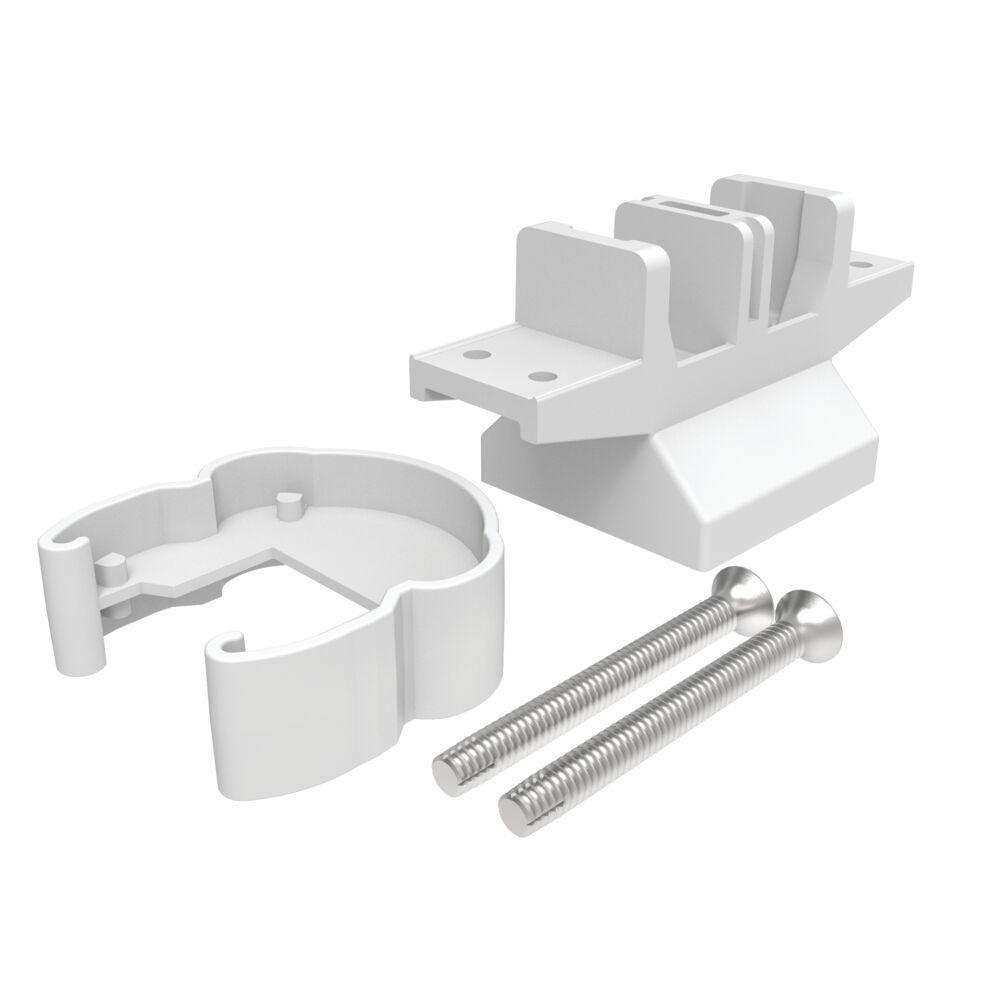 Avalon 2 in. White Aluminum Pellinore Over-the-Top Post Bracket - Line Post