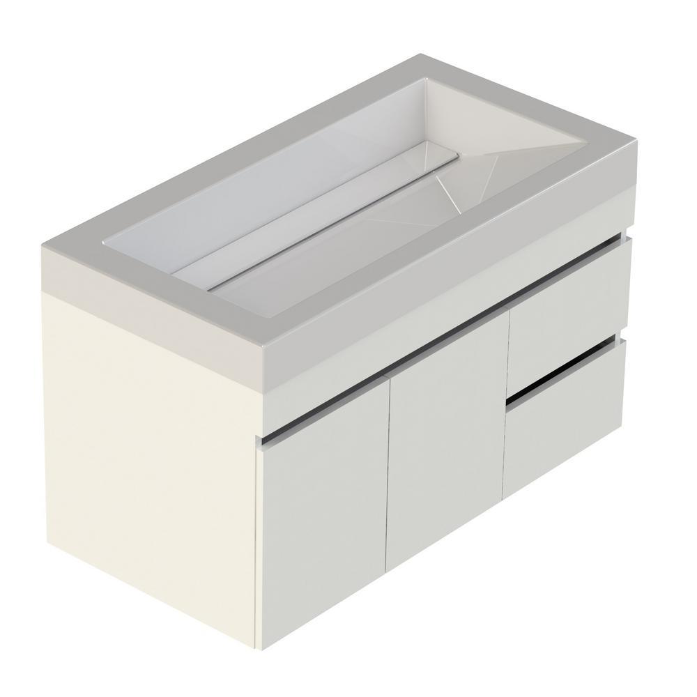 Viteli Plus Genova 37 in. W x 19 in. D Vanity in White with Cultured Marble Vanity Top in White with White Basin