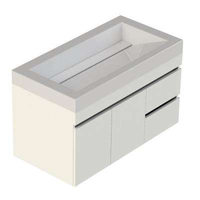 Viteli Plus Genova 37 in. W x 19 in. D Vanity in White with Cultured Marble Vanity Top in White with White Basin