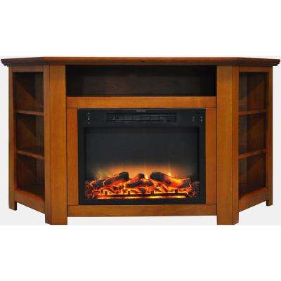Stratford 56 in. Electric Corner Fireplace in Teak with Enhanced Fireplace Display