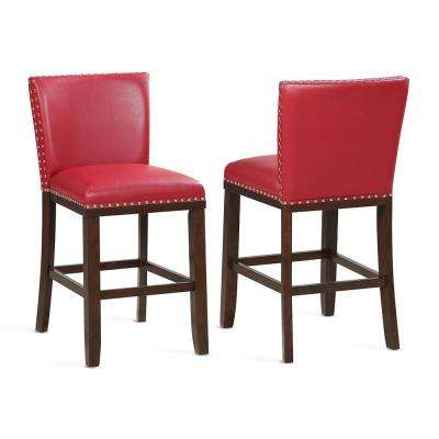 Contemporary Red Counter Stools (Set Of 2)