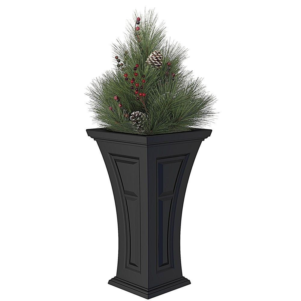 16 in. x 28 in. Black Polyethylene Plastic Heritage Planter with