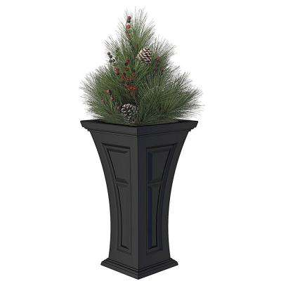 16 in. x 28 in. Black Polyethylene Plastic Heritage Planter with Artificial Pine Needle Holiday Arrangement