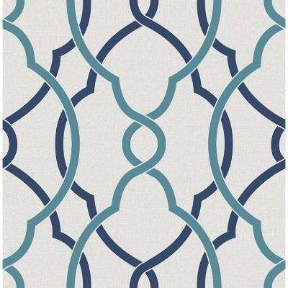 Sausalito Navy Lattice Wallpaper Sample