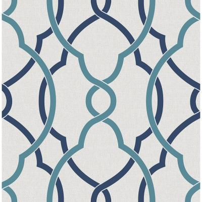 Sausalito Navy Lattice Paper Strippable Roll Wallpaper (Covers 56.4 sq. ft.)