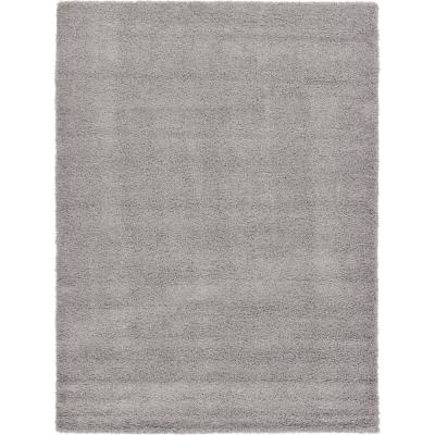 Solid Shag Cloud Gray 8 ft. x 11 ft. Area Rug