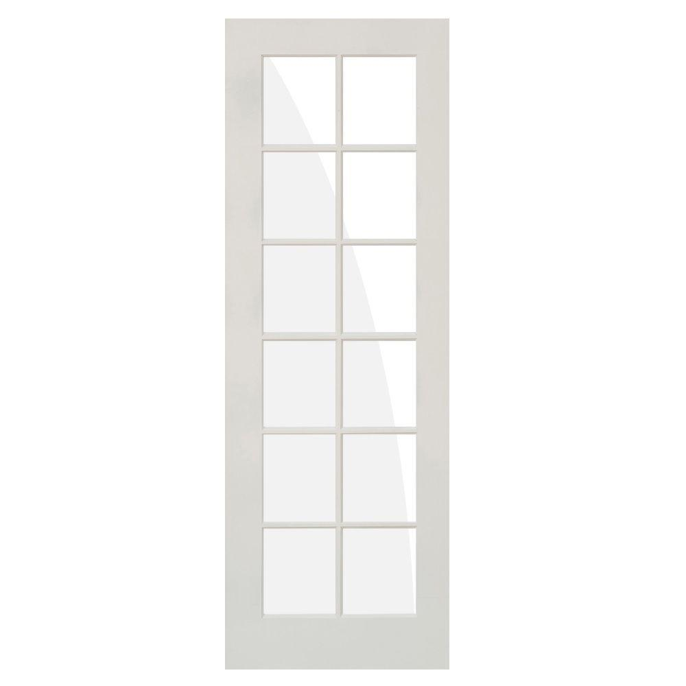 Krosswood Doors 36 In X 96 In Shaker 12 Lite Composite Mdf Primed Wood Clear Low E Glass Right