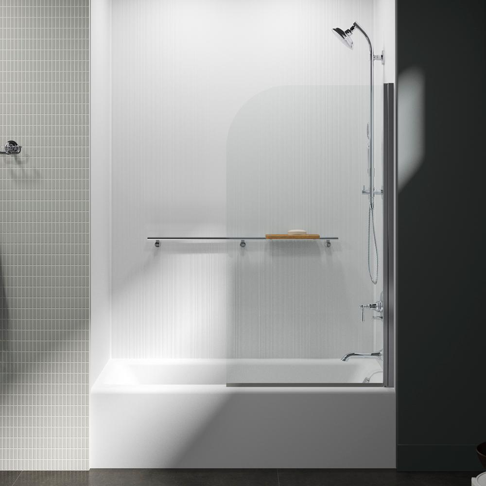 Kohler Aerie 32 In W X 5693 In H Frameless Curved Glass Panel In