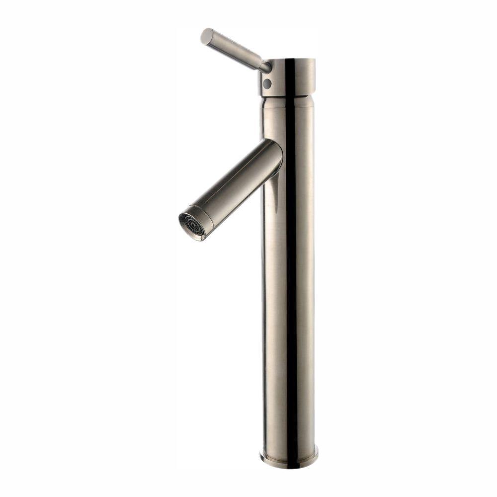 KRAUS Sheven Single Hole Single-Handle Vessel Bathroom Faucet in Satin Nickel