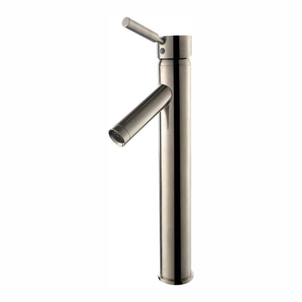 Sheven Single Hole Single-Handle Vessel Bathroom Faucet in Satin Nickel