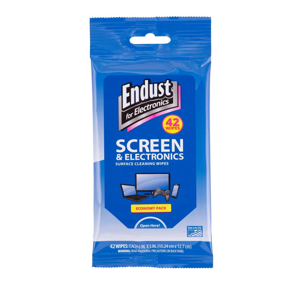 Norazza 6 in. x 5 in. Screen Cleaning Wipes (42-Count) Endust for Electronics is the most recognized brand in the category. The travel pack is perfect for the busy professional or student. The re-sealable package prevents the wipes from drying out between use.