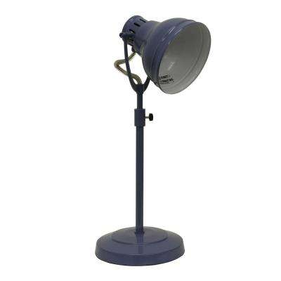 Desk Task 21 in. Blue Table Lamp with Metal Shade