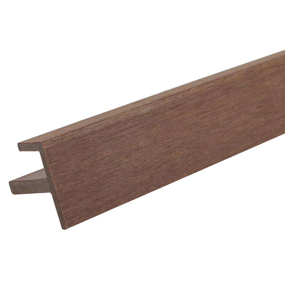 NewTechWood All Weather System 2.2 in. x 2.2 in. x 8 ft. Composite Siding End Trim in Brazilian Ipe Board