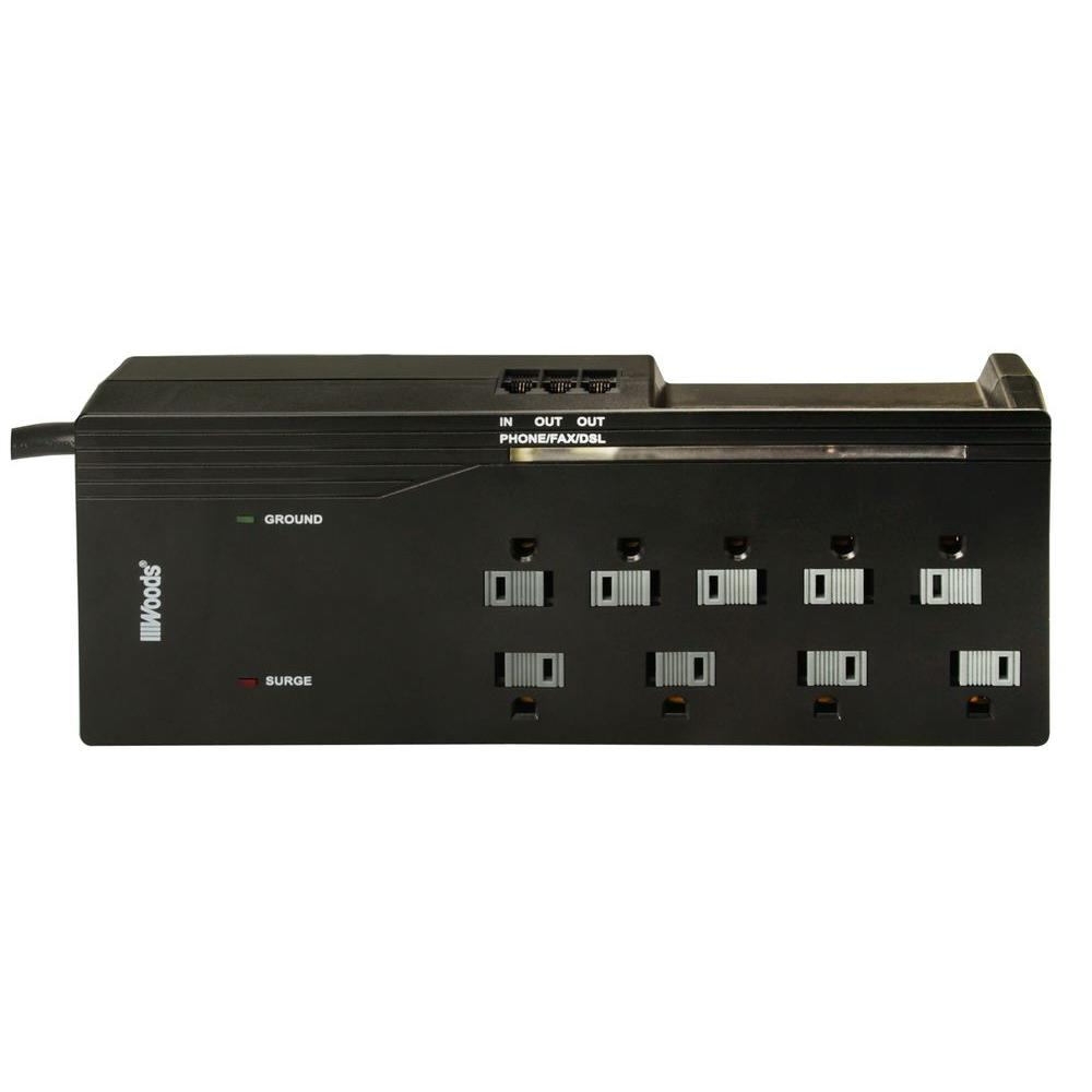 Woods 6 ft. 9-Outlet 3000-Joule Surge Protector Power Strip with ...