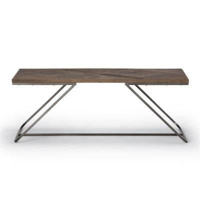 Hailey Solid Aged Elm Wood and Metal 48 in. Wide Modern Industrial Coffee Table in Distressed Java Brown Wood Inlay