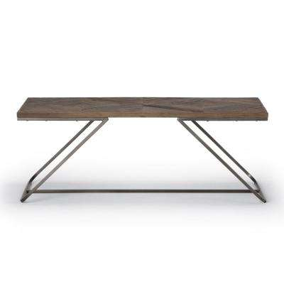 Hailey Distressed Java Brown Wood Inlay Coffee Table