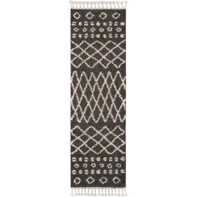 Marrakesh Shag 2' x 8' Runner Black Plush Area Rug